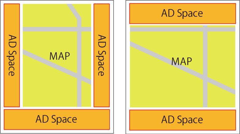 「GPSちずっ子」の地図と共に、広告バナーを掲載するプランです。その広告掲載料で、「GPSちずっ子」の運営費を軽減することができます。 広告掲載の場所や数、面積は